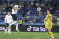 England's Harry Kane scores his side's third goal during the Euro 2020 soccer championship quarterfinal match between Ukraine and England at the Olympic stadium in Rome, Saturday, July 3, 2021. (AP Photo/Ettore Ferrari, Pool)