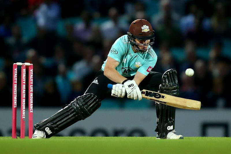 LONDON, ENGLAND - JULY 30: Ollie Pope of Surrey bats during the Vitality Blast match between Surrey and Kent Spitfires at The Kia Oval on July 30, 2019 in London, England. (Photo by Jordan Mansfield/Getty Images for Surrey CCC)