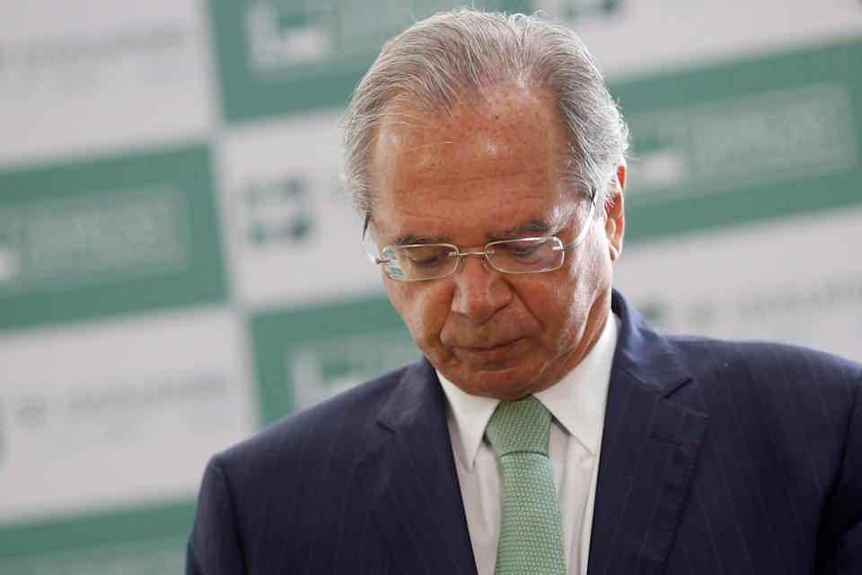 Brazil's Economy Minister Paulo Guedes speaks during a news conference after a meeting to deliver the tax reform package at the National Congress in Brasilia, Brazil, June 25, 2021. REUTERS/Adriano Machado