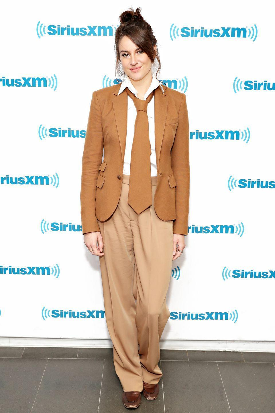 <p>Who: Shailene Woodley </p><p>When: June 11, 2019</p><p>Wearing: A brown and white suit</p><p>Why: Shailene Woodley must have taken a cue from Annie Hall for her New York City look, and we're here for it. The playful addition of an oversized tie really makes the look. </p>