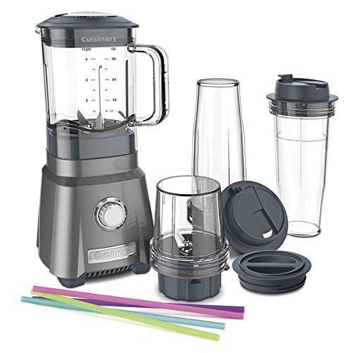 "<p><strong>Cuisinart</strong></p><p>amazon.com</p><p><strong>$99.95</strong></p><p><a href=""https://www.amazon.com/dp/B01MAXVK9Q?tag=syn-yahoo-20&ascsubtag=%5Bartid%7C10055.g.4864%5Bsrc%7Cyahoo-us"" rel=""nofollow noopener"" target=""_blank"" data-ylk=""slk:Shop Now"" class=""link rapid-noclick-resp"">Shop Now</a></p><p>This is the <strong>blender for when you are tight on space</strong>, but don't want to compromise on performance and options. In our tests, the rotary dial controls to be easy to use (for low, high, and pulse), the measurement markings are clear, and the jar is easy to grip and get on and off of the base. It features a 32-ounce jar and two 16-ounce travel cups with lids (one's a single-wall, the other a double-wall, perfect for keeping your smoothie cold). It made great margaritas and milkshakes, but our smoothies had flecks of fruit and ice left behind. Keep in mind that getting the blade and off can be a little tricky — to twist on, turn left and to twist off, turn right. </p>"