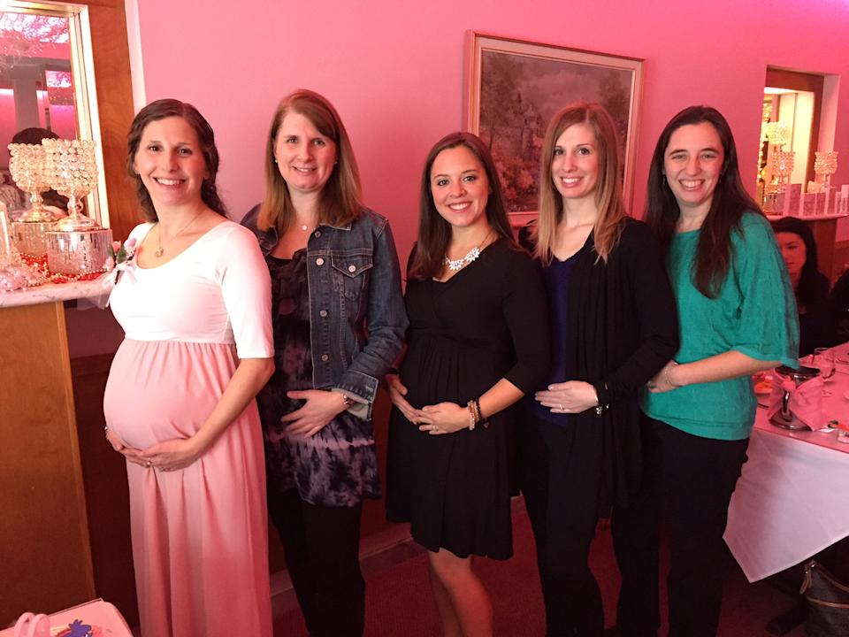 The friends were all amazed to discover they were pregnant at the same time [Photo: SWNS]