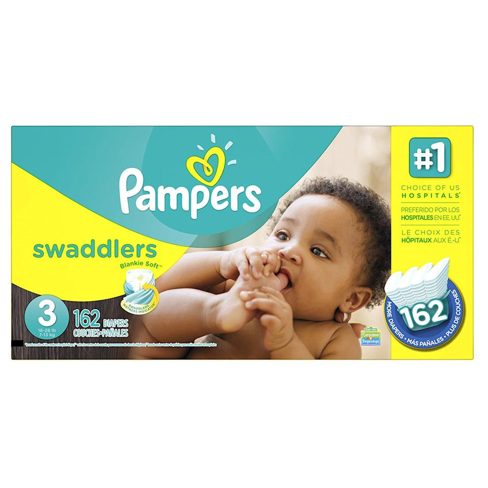"""<p>This is something you definitely don't want to run out of. Just remember to update your subscription with new sizes as your little one grows. </p> <p> <strong>Pampers Diapers: prices vary;<em> <a rel=""""nofollow"""" href=""""https://www.amazon.com/s/ref=sr_st_price-asc-rank?keywords=pampers+diapers"""">amazon.com</a></em></strong></p>"""