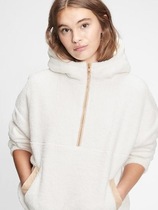 <p>There are five colors of this <span>Gap Sherpa Half-Zip Hoodie</span> ($33-$45, originally $80) but we're partial to the classic white. </p>
