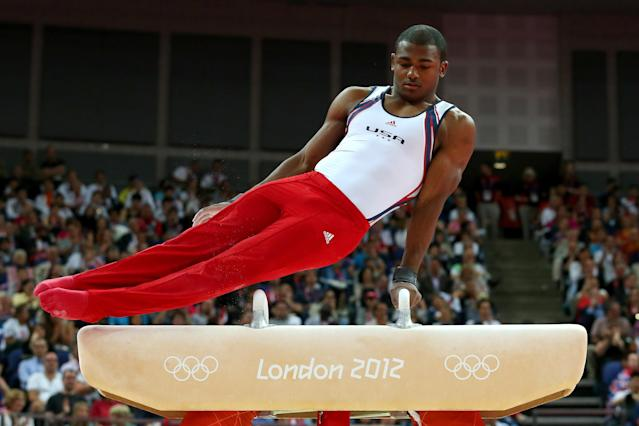 LONDON, ENGLAND - JULY 30: John Orozco of the United States of America competes on the pommel horse in the Artistic Gymnastics Men's Team final on Day 3 of the London 2012 Olympic Games at North Greenwich Arena on July 30, 2012 in London, England. (Photo by Ronald Martinez/Getty Images)