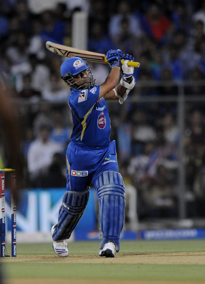 Sachin Tendulkar of Mumbai Indians bats during match 53 of the Pepsi Indian Premier League ( IPL) 2013  between The Mumbai Indians and the Kolkata Knight Riders held at the Wankhede Stadium in Mumbai on the 7th May 2013 ..Photo by Pal Pillai-IPL-SPORTZPICS  ..Use of this image is subject to the terms and conditions as outlined by the BCCI. These terms can be found by following this link:..https://ec.yimg.com/ec?url=http%3a%2f%2fwww.sportzpics.co.za%2fimage%2fI0000SoRagM2cIEc&t=1503229413&sig=AORTDU0B.Pe4Ews0tcZnUA--~D