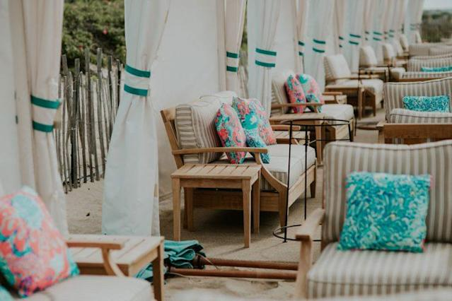 The Lilly Pulitzer-decorated cabanas at Ocean House in Rhode Island. (Photo: <span>Brooke Brady</span>)
