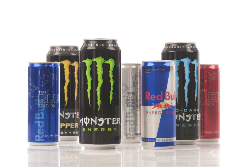 """Belgrade, Serbia - July 1st, 2012:Red Bull and Monster energy drinks with various tastes"""