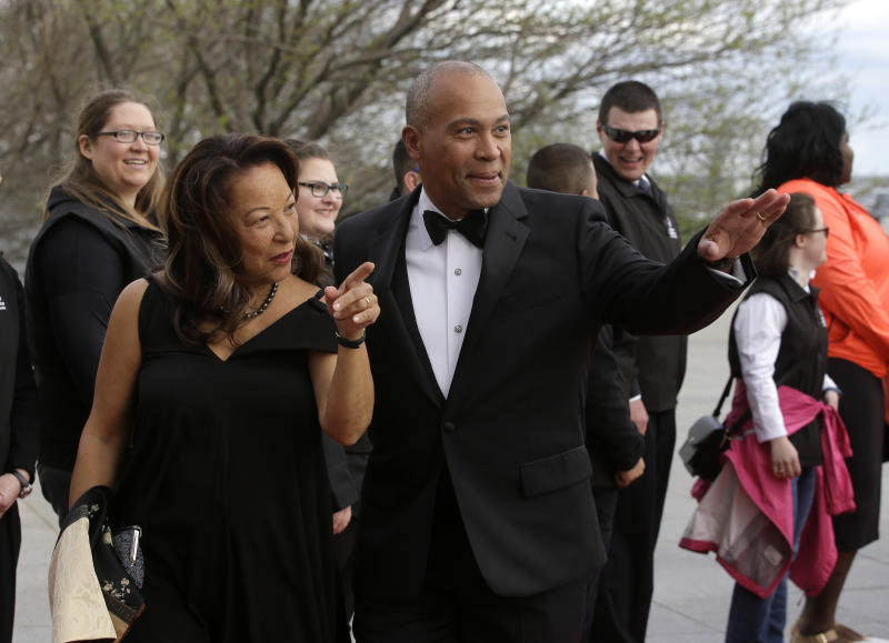 Former Massachusetts Governor Deval Patrick is seen at the John F. Kennedy Presidential Library and Museum in 2017with his wife, Diane, who he said was recently diagnosed with Stage 1 uterine cancer. (ASSOCIATED PRESS)