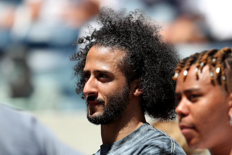 Colin Kaepernick watched Naomi Osaka play at the US Open on Thursday. (Photo by Al Bello/Getty Images)