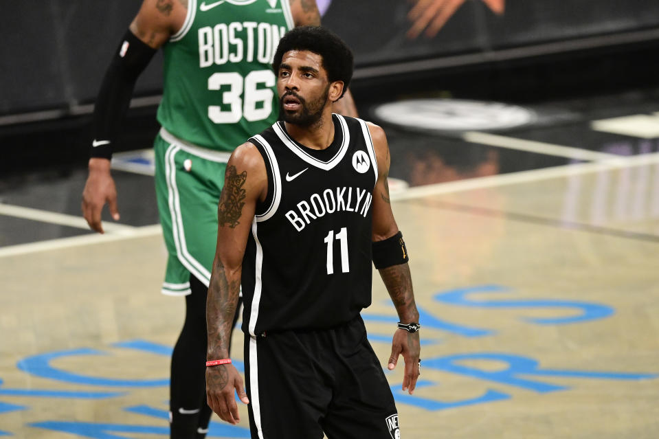 Former Celtics star Kyrie Irving will play his first game in front of Boston fans since joining the Nets.  (Steven Ryan/Getty Images)