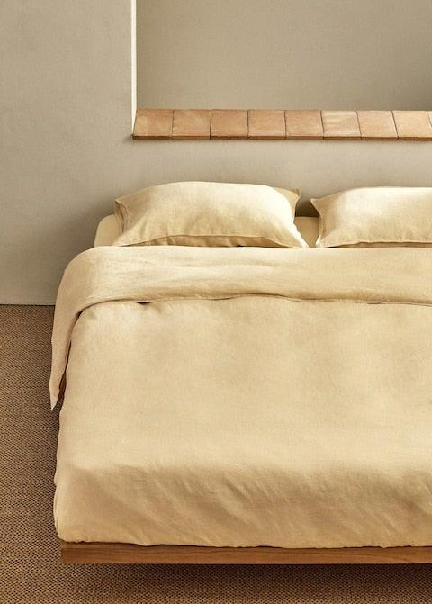 """<strong>Under £150</strong><br><br>Linen for summer, groundbreaking! After sleeping with my fan on the rotate setting for the past few weeks I've finally decided to invest in some new, lightweight linen bedding. Bedding is expensive but linen is long-lasting so it's a good investment and I love this buttery colour. <br><br><strong>Mango</strong> 100% linen duvet cover 220x220cm, $, available at <a href=""""https://shop.mango.com/gb/home/duvet-cover/100-linen-duvet-cover-220x220cm_17011084.html"""" rel=""""nofollow noopener"""" target=""""_blank"""" data-ylk=""""slk:Mango"""" class=""""link rapid-noclick-resp"""">Mango</a>"""