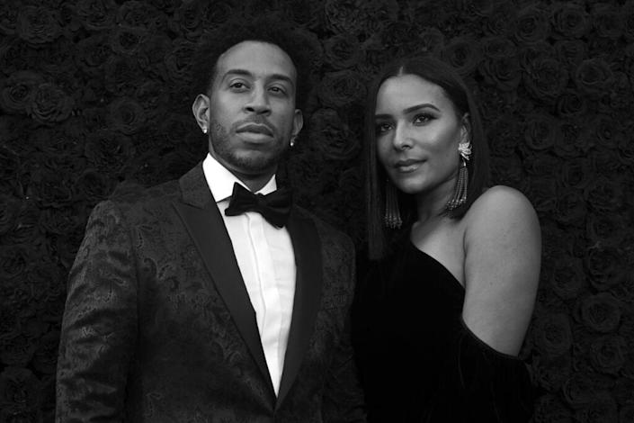 ATLANTA, GEORGIA – OCTOBER 05: (EDITORS NOTE: Image was shot in black and white.) Ludacris and Eudoxie Bridges attend Tyler Perry Studios grand opening gala at Tyler Perry Studios on October 05, 2019 in Atlanta, Georgia. (Photo by Paras Griffin/Getty Images for Tyler Perry Studios)