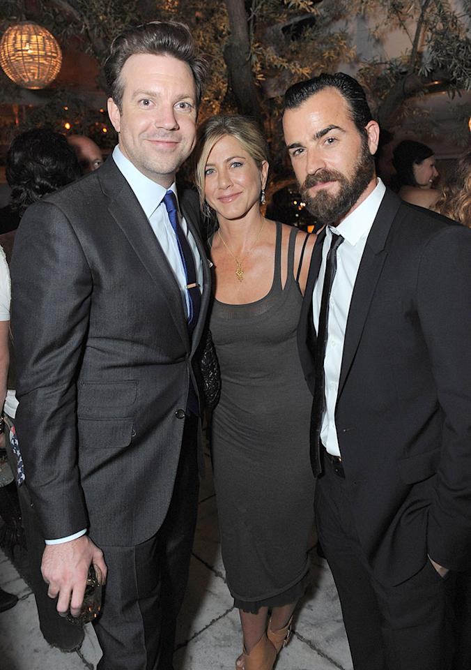 (EXCLUSIVE, Premium Rates Apply) (EXCLUSIVE COVERAGE- PREMIUM PRICING APPLIES)  Jason Sudeikis, Jennifer Aniston and Justin Theroux attend the Movie Awards After Party Sponsored By Yoostar at Soho House on June 5, 2011 in West Hollywood, California.