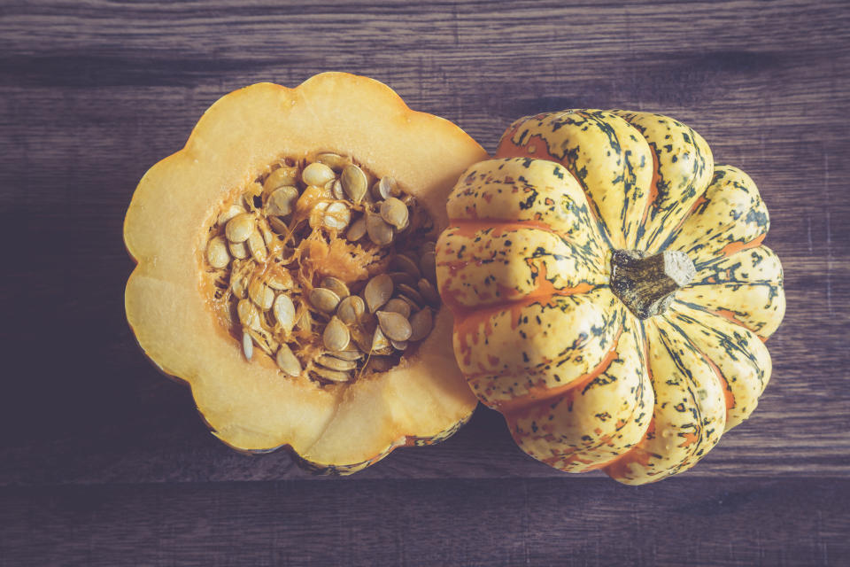 Pumpkin seeds are high in zinc and magnesium, important for our mood. (Photo: Getty Images)