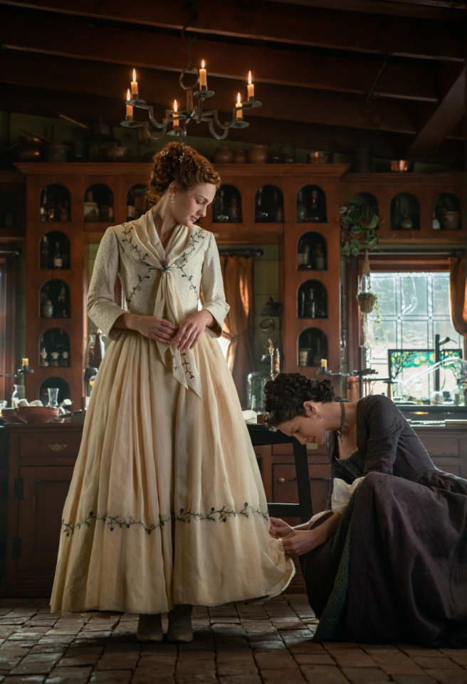 """<p>""""Claire goes through a very emotional process because, having left Brianna back in the 20th century, this is something she thought she'd never get to experience,"""" Caitriona Balfe told <em><a href=""""https://www.vogue.com/slideshow/outlander-season-5-episode-1-brianna-roger-wedding-photos"""" target=""""_blank"""">Vogue</a> </em>of the scene. """"She felt like she had sacrificed all of these moments to spend her time with Jamie. She loves Roger and thinks she and Brianna are a great match.""""</p>"""