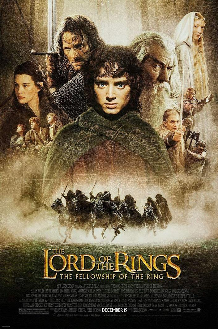 <p>Released on December 19, 2001, <em>Lord of the Rings: Fellowship of the Ring</em> was the first installment of the wildly successful franchise. Based on the books by J.R.R. Tolkien, Frodo Baggins (Elijah Wood) is the unlikely hero tasked with the responsibility of destroying the One Ring that rules them all. </p>