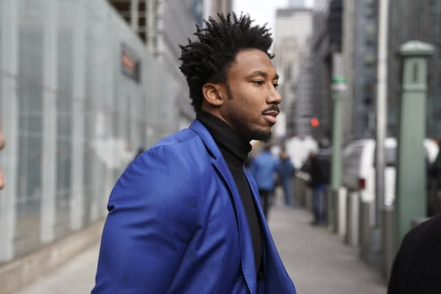 Myles Garrett leaves his appeal hearing in New York (Seth Wenig/AP)