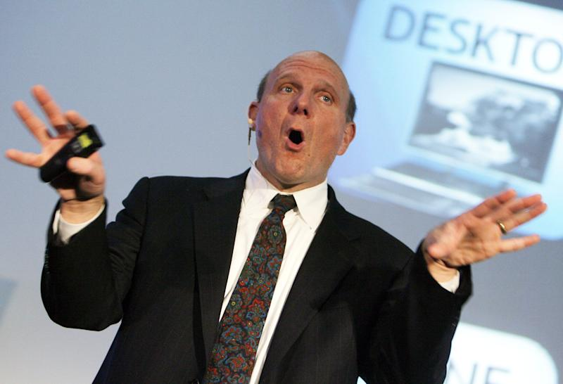 """FILE- In this Thursday, Oct. 4, 2012, File photo, Steve Ballmer, CEO Microsoft, speaks about the """"Next Generation Internet"""" during a presentation in Zurich, Switzerland. Ballmer can't afford to be wrong about Windows 8. If the dramatic overhaul of the Windows operating system flops, it will reinforce perceptions that Microsoft is falling behind other technology giants as the world moves on to smartphones, tablets and other sleek devices from Apple, Google and Amazon. (AP Photo/Keystone, Walter Bieri, File)"""