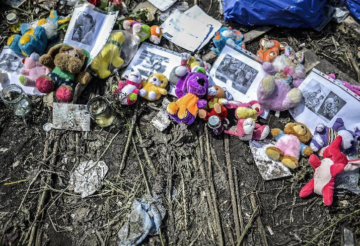 Soft toys and pictures are seen amongst the wreckage of the Malaysia Airlines flight MH17 near the village of Grabove, in the region of Donetsk on July 20, 2014 (AFP Photo/Bulent Kilic)
