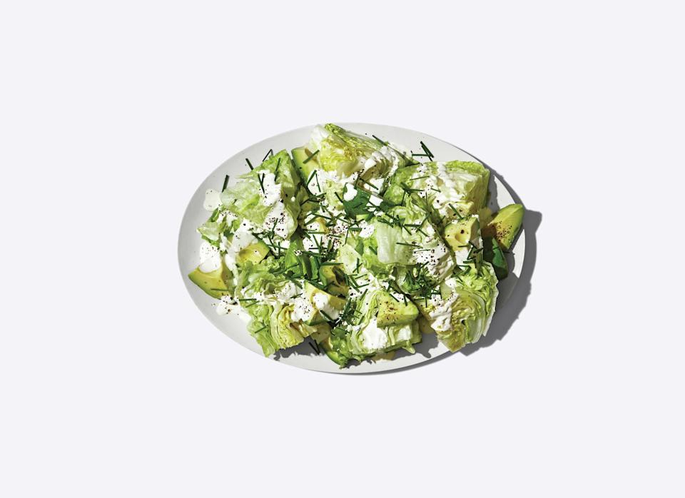 """<h1 class=""""title"""">Little Wedge Salad with Sour Cream Dressing</h1> <div class=""""caption""""> <a href=""""https://www.epicurious.com/recipes/food/views/little-wedge-salad-with-sour-cream-dressing?mbid=synd_yahoo_rss"""" rel=""""nofollow noopener"""" target=""""_blank"""" data-ylk=""""slk:Little Wedge Salad With Sour Cream Dressing"""" class=""""link rapid-noclick-resp"""">Little Wedge Salad With Sour Cream Dressing</a> </div> <cite class=""""credit"""">Photo by Alex Lau, Prop Styling by Kalen Kaminski, Food Styling by Rebecca Jurkevich</cite>"""