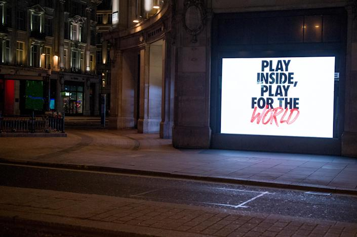 LONDON, ENGLAND - MARCH 24: London's flagship London Store Nike Town on Oxford Street showing the new Nike play Inside, Play for the world campaign.