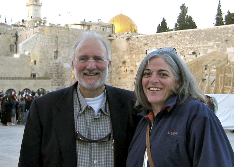 FILE - In this 2005 file handout photo provided by the Gross family, Alan and Judy Gross are seen in Jerusalem. A lawyer for Gross, a Maryland man imprisoned in Cuba for more than two years says his client's health is worsening and that country is withholding the results of medical tests performed on him there.  (AP Photo/Gross Family, File)