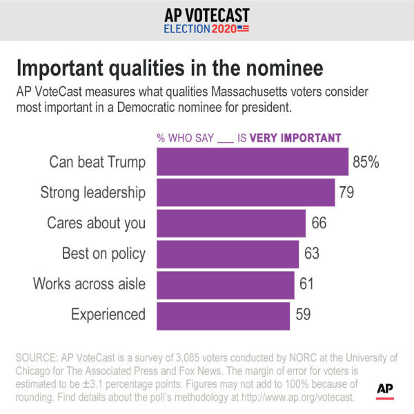 Qualities Democratic voters in Massachusetts consider most important in a Democratic presidential nominee;