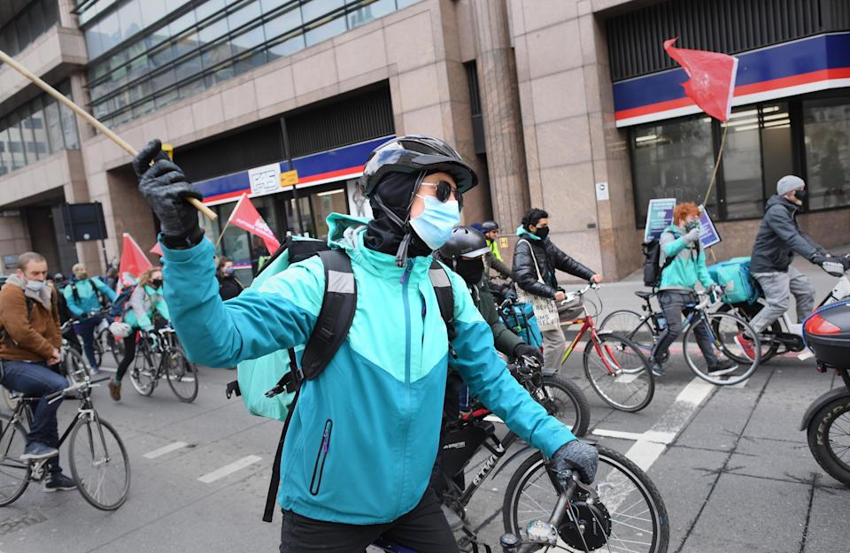 Deliveroo riders from the Independent Workers' Union of Great Britain have staged a series of strikes over pay and working conditions (Stefan Rousseau/PA) (PA Wire)