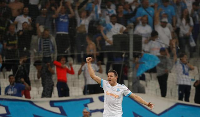 Soccer Football - Europa League Semi Final First Leg - Olympique de Marseille vs RB Salzburg - Orange Velodrome, Marseille, France - April 26, 2018 Marseille's Florian Thauvin celebrates scoring their first goal REUTERS/Eric Gaillard