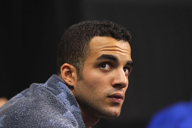 ST. LOUIS, MO - JUNE 9: Denell Leyva looks on during the Senior Men's competition on Day Three of the Visa Championships at Chaifetz Arena on June 9, 2012 in St. Louis, Missouri. (Photo by Dilip Vishwanat/Getty Images)