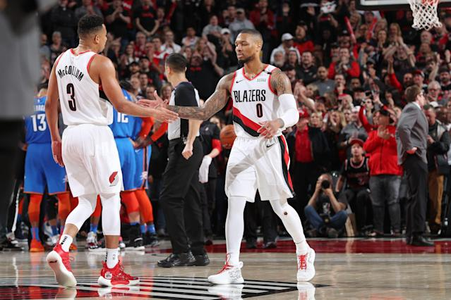 CJ McCollum scored 24 points en route to Portland's first playoff win since 2016. (Getty Images)