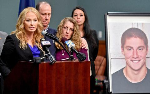 Attorney Stacy Parks Miller, left, announces findings an investigation into the death of Penn State University fraternity pledge Tim Piazza - Credit: Abby Drey/AP