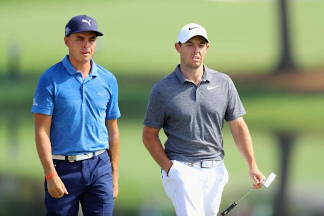 """<a class=""""link rapid-noclick-resp"""" href=""""/pga/players/9633/"""" data-ylk=""""slk:Rickie Fowler"""">Rickie Fowler</a>, <a class=""""link rapid-noclick-resp"""" href=""""/pga/players/8016/"""" data-ylk=""""slk:Rory McIlroy"""">Rory McIlroy</a> challenge the PGA Championship. (Getty)"""