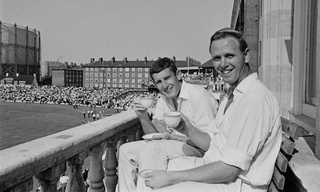 "<span class=""element-image__caption"">England cricket bowlers John Snow, left, and Ken Higgs enjoy a cup of tea after their record-breaking 128-run last wicket stand against West Indies in the fifth and final test at The Oval in August 1966.</span> <span class=""element-image__credit"">Photograph: Central Press/Hulton Archive/Getty Images</span>"