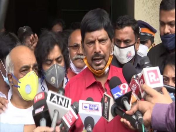 Union Minister Ramdas Athawale (right) and Retired Navy officer, Madan Sharma (left)(Photo/ANI)