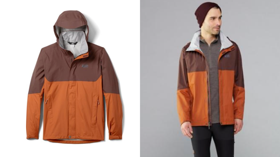 Stay dry in a breathable rain jacket.