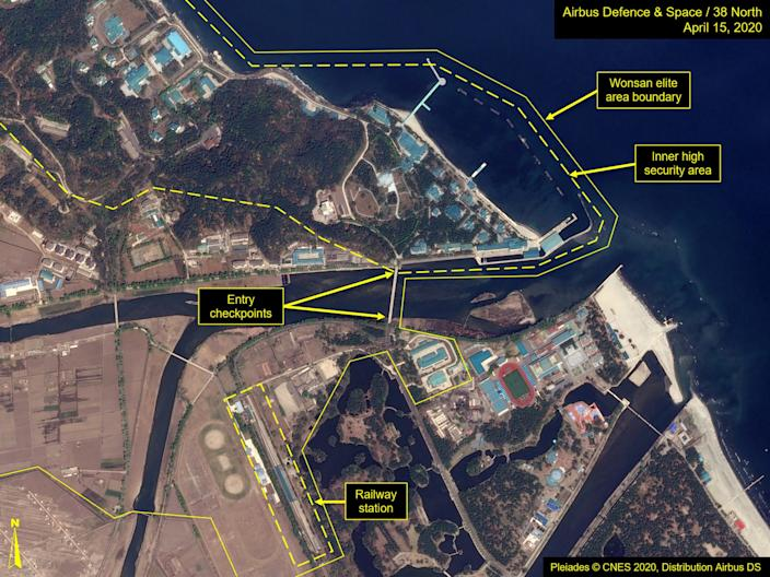 What is described by Washington-based North Korea monitoring project 38 North as a leadership train station servicing North Korean leader Kim Jong Un's Wonsan complex is seen in a satellite image with graphics taken over Wonsan, North Korea April 15, 2020.