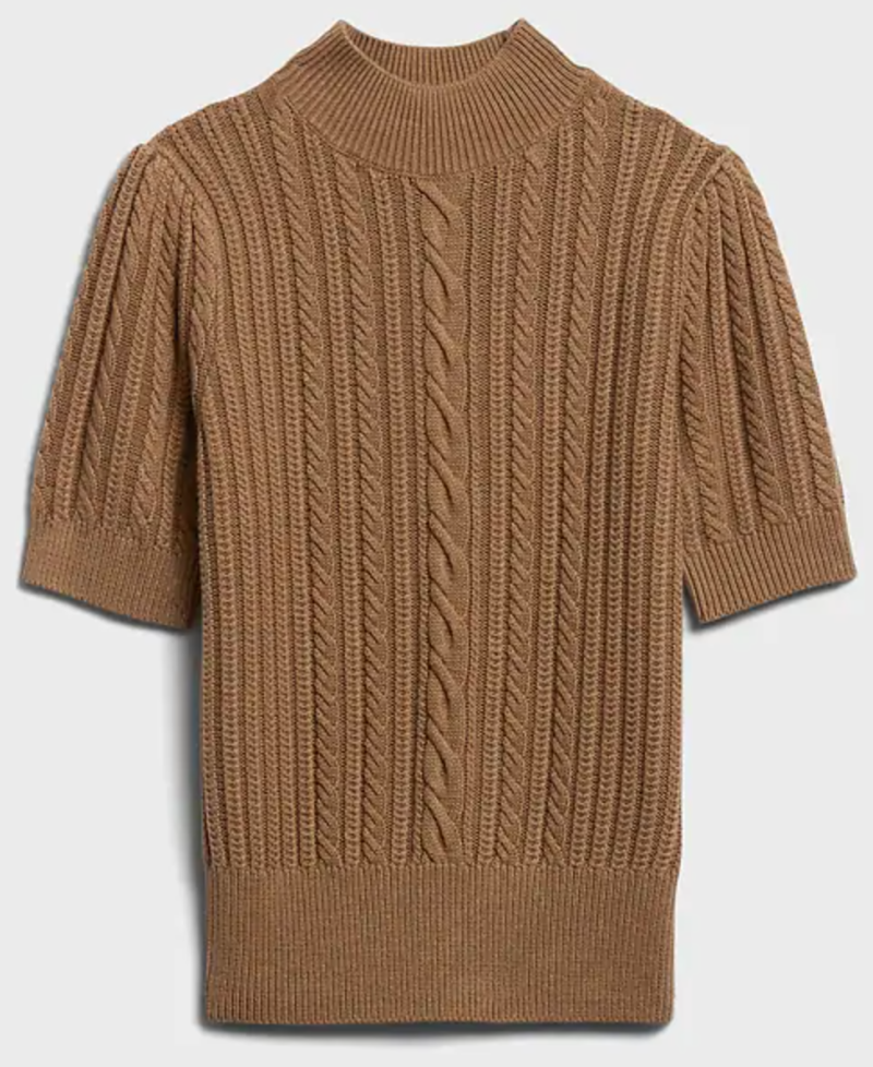 Banana Republic Short-Sleeve Cable-Knit Sweater in Camel