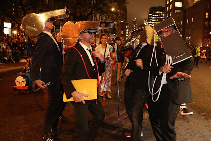 People dressed as whistles march on the 46th annual Village Halloween Parade in New York City. (Gordon Donovan/Yahoo News)