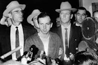 President John F. Kennedy's murderer Lee Harvey Oswald during a press conference after his arrest in Dallas on Nov. 22, 2963. Lee Harvey Oswald was killed by Jack Ruby on 24 Nov. 24, 1963 on the eve of Kennedy's burial. (Photo: Stringer/AFP/Getty Images)
