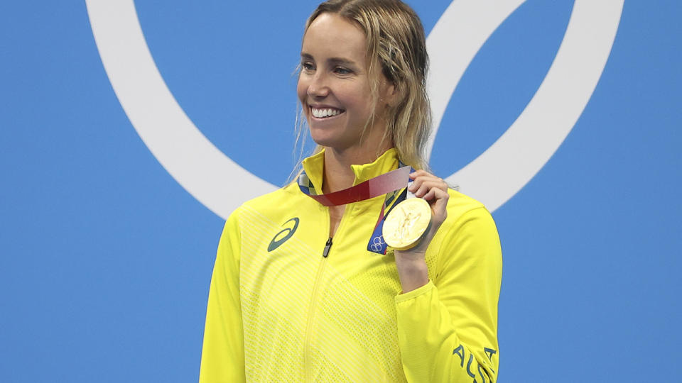 Emma McKeon, pictured here celebrating with her gold medal after the 100m freestyle final.