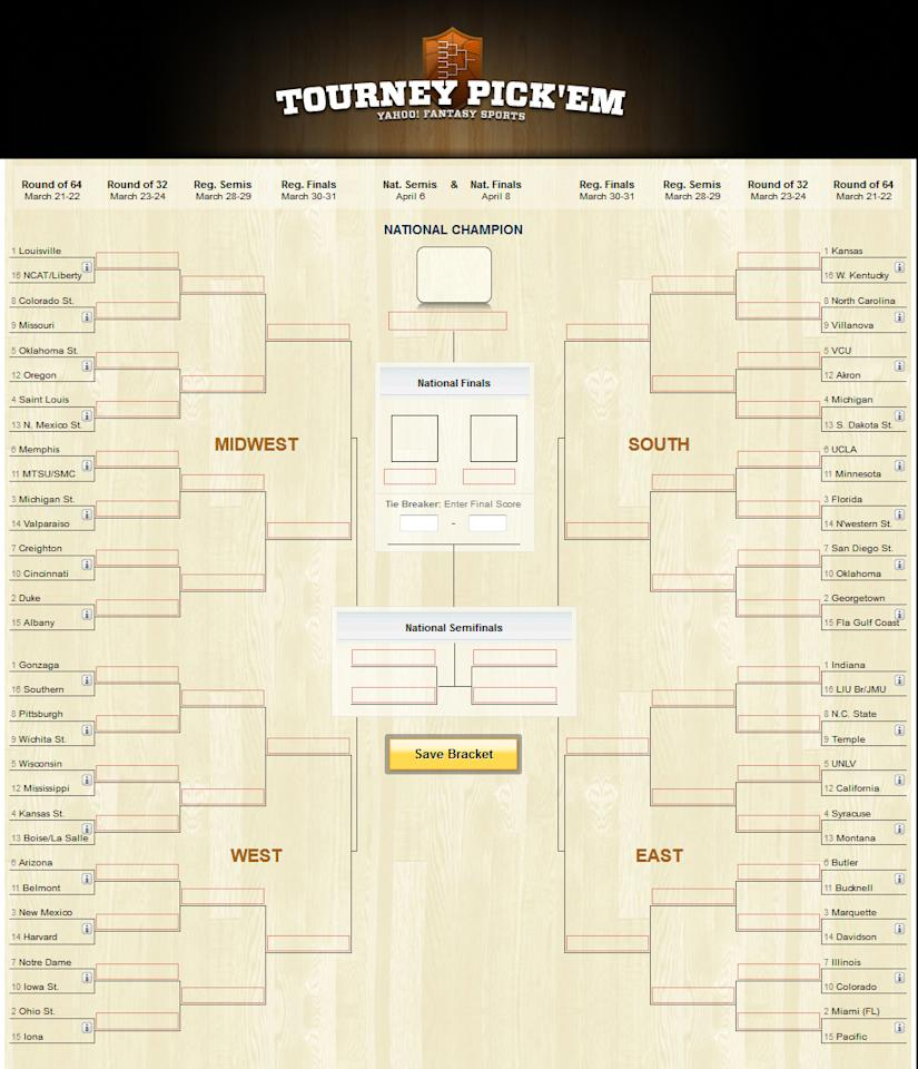 Pick'em and weep. Yes, Yahoo! Sports brings back the Tourney Pick'em promotion, with 10,000 smackeroos for the best bracket. Check out Rule 5 for the point spread on how you can win. The odds depend on the number of entries, but they're better than 9 quintillion.