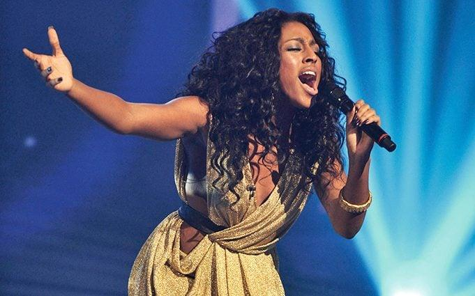 Alexandra in the X Factor final, 2008 - Ken McKay / Rex Features