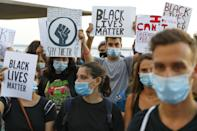 Demonstrators attend a gathering in support of US protesters over the death of George Floyd, an unarmed black man who died after a police officer kneeled on his neck for several minutes, and against police violence on June 2, 2020, in the Israeli coastal city of Tel Aviv. (Photo by JACK GUEZ / AFP) (Photo by JACK GUEZ/AFP via Getty Images)