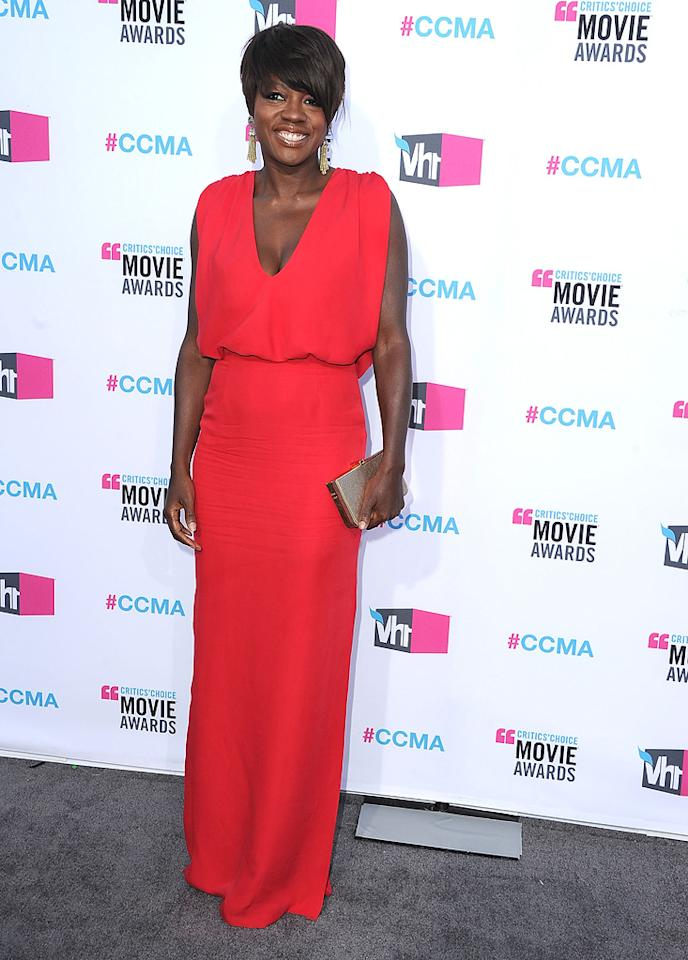 """<a href=""""http://movies.yahoo.com/movie/contributor/1800315745"""">Viola Davis</a> at the 17th Annual Critics' Choice Awards in Hollywood on January 12, 2012."""
