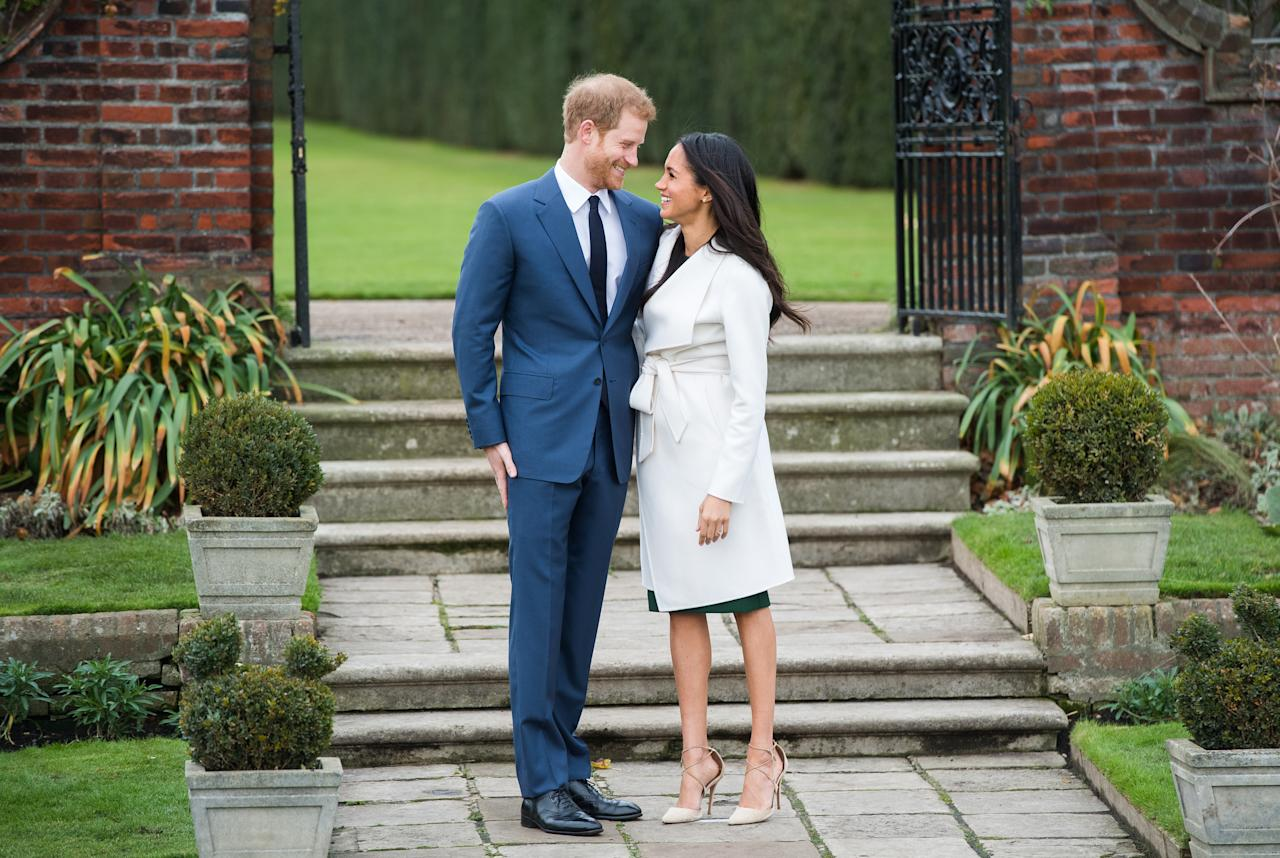 """<p>Meghan's look was way more buttoned up than her first photo op with Prince Harry at the Invictus Games. The actress was <a rel=""""nofollow"""" href=""""https://www.yahoo.com/lifestyle/meghan-markle-shamed-wearing-ripped-jeans-155420729.html"""">shamed for wearing ripped jeans</a>. But theirs is a modern royal romance. She's been married before, so <a rel=""""nofollow"""" href=""""https://www.yahoo.com/lifestyle/people-explains-meghan-markle-married-130656635.html"""">look for them to have a much more low-key wedding</a> than Prince William and Kate Middleton had. Being the """"spare"""" and not the heir allows for that, anyway. (Photo: Chris Jackson/Getty Images) </p>"""