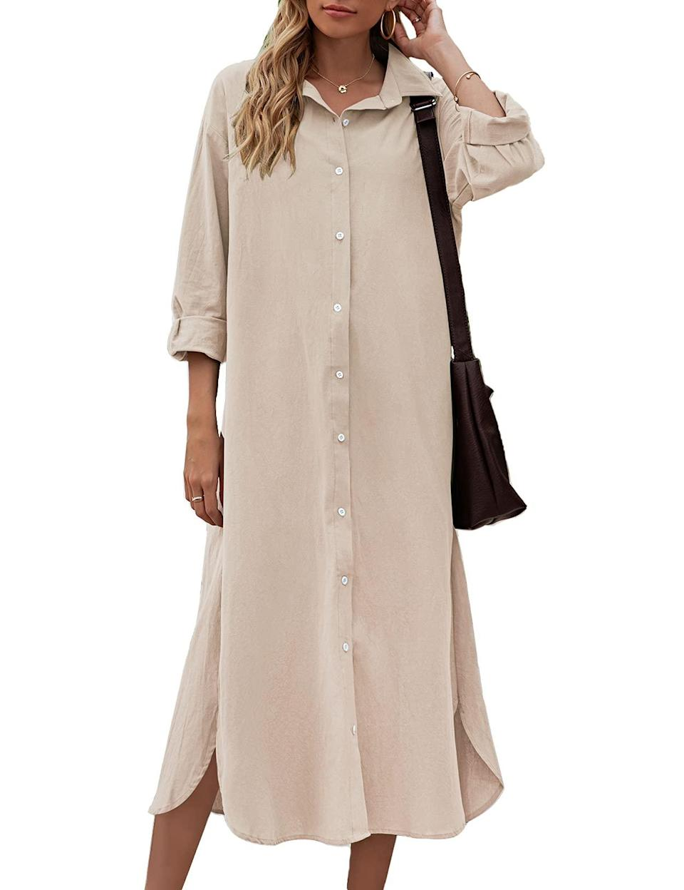"""<h2>Button-Front Dresses</h2><br>Not only are button-down dresses classic, but they're also customizable! You can button it up less or more depending on your preferences or occasion. <br><br><strong>Sopliagon</strong> Shirt Dress, $, available at <a href=""""https://amzn.to/3tTvyvb"""" rel=""""nofollow noopener"""" target=""""_blank"""" data-ylk=""""slk:Amazon"""" class=""""link rapid-noclick-resp"""">Amazon</a>"""
