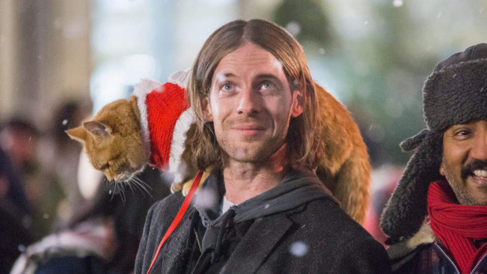 Luke Treadaway and his feline co-star in 'A Christmas Gift from Bob'. (Credit: Lionsgate)