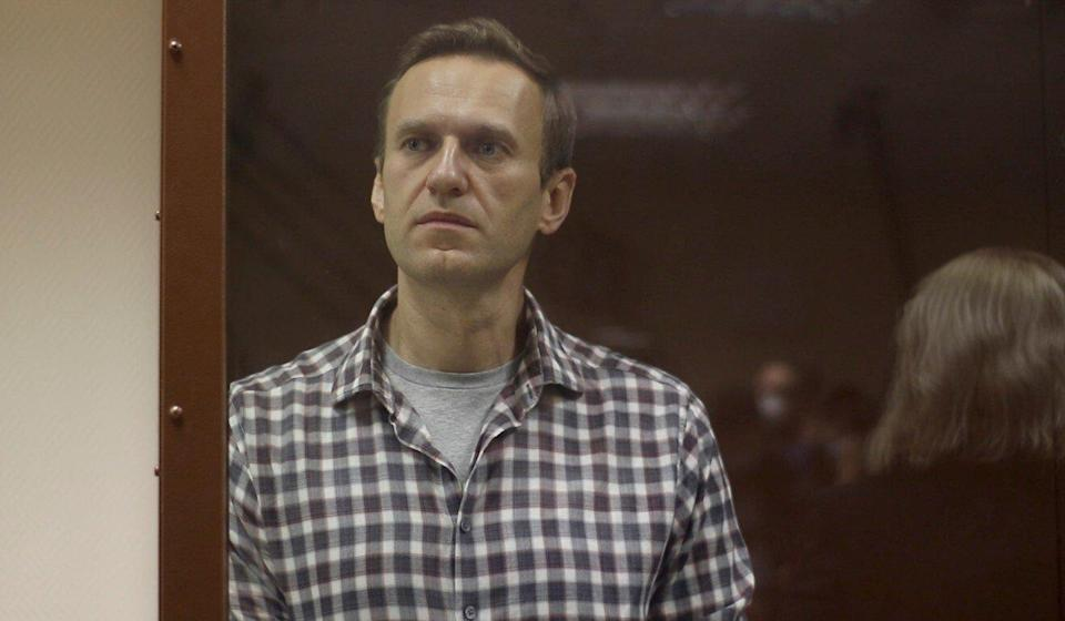 Kremlin critic Alexei Navalny appears at a court hearing in Moscow on Saturday. Photo: Press service of Babushkinsky District Court of Moscow via Reuters